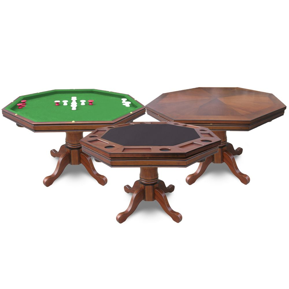Table de poker Kingston 3-en-1 en noyer