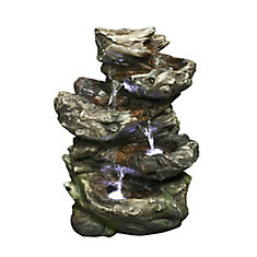 Fountain - 4 Level Log Waterfall with LED lights, 14 Inch H