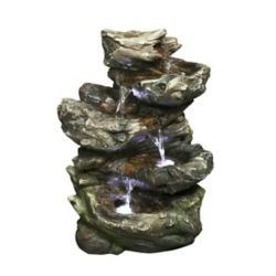 Hi-Line Gift Fountain - 4 Level Log Waterfall with LED lights, 14 Inch H