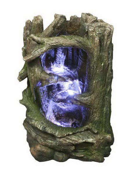 Fontaine-  Cascade d'eau  dans un tronc d'arbre. Lumière DEL. 14''.