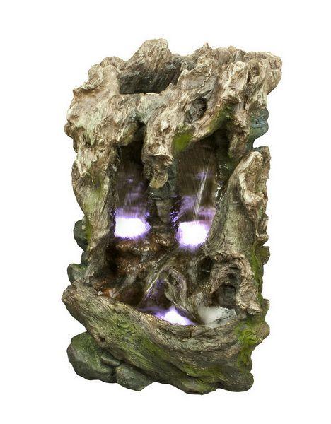 Fontaine- Tronc d'arbre, 3 lumières DELS, 23'' de haut.