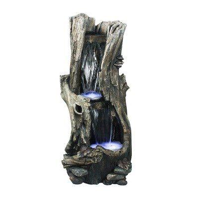 Fontaine- Cascade d'eau sur tronc d'arbre, lumière DEL,  41'' de haut.
