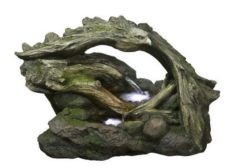 Hi Line Gift Fontaine Cascade D 39 Eau Sur Troncs Rapellant Un Aigle Lumi Re Del 20 39 39 De Haut