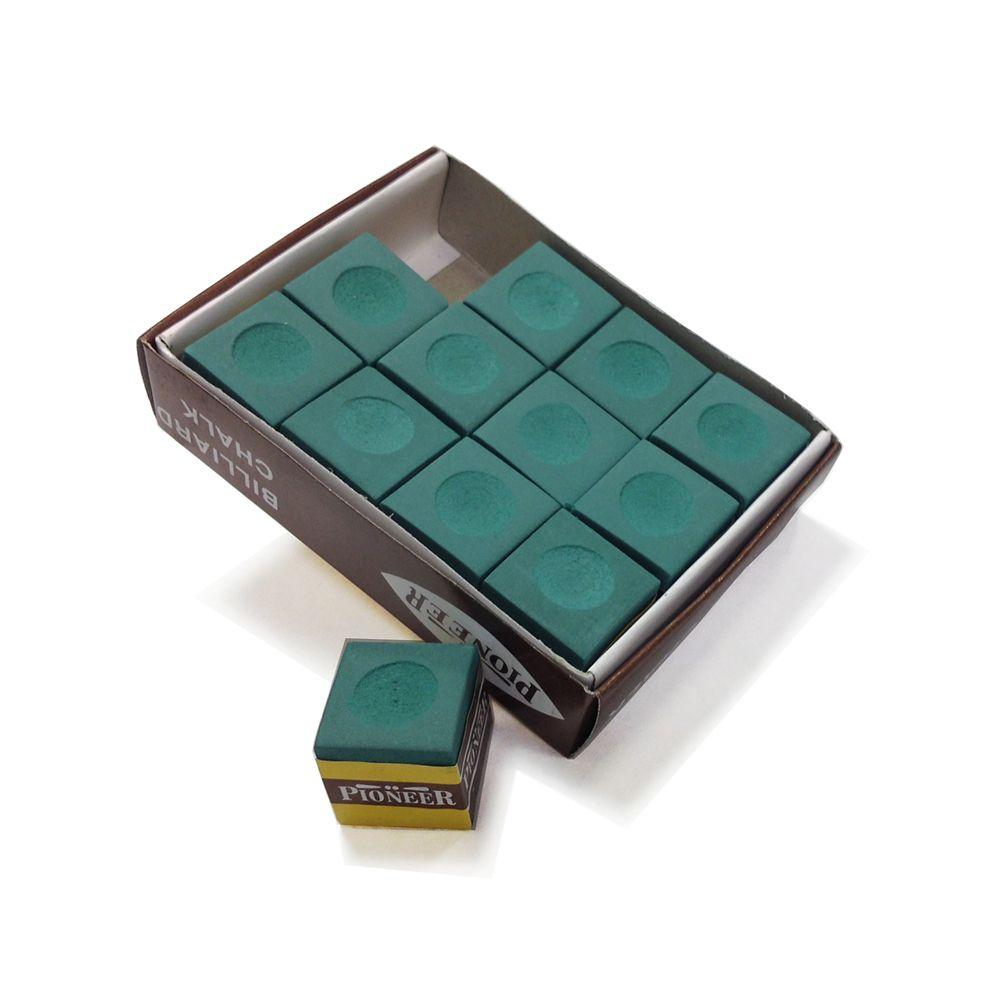 Green Billiard Pool Cue Chalk - 12 pack