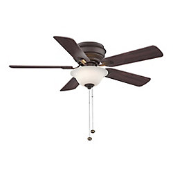 Hampton Bay Hawkins 44-inch 5-Blade Oil-Rubbed Bronze Indoor Ceiling Fan with Light Kit and Reversible Blades