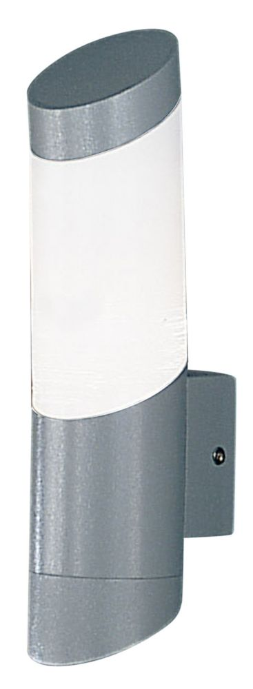 Sail 1 Outdoor Wall Light 1l, Silver Finish, Opal Frosted Plastic Shade