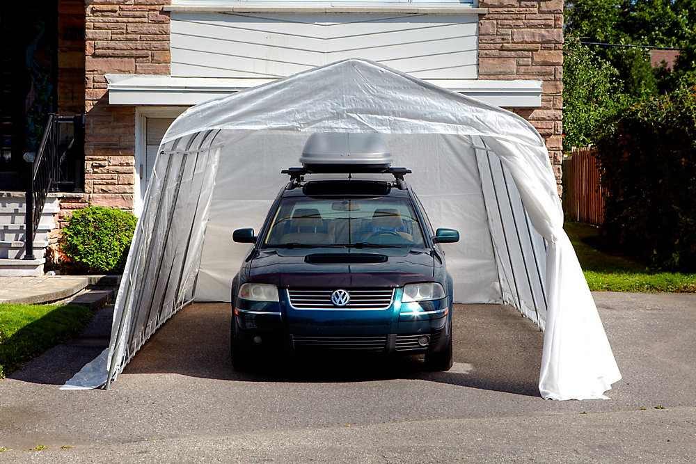 Standard Round 11 ft  x 16 ft  Car Shelter with Clear Roof