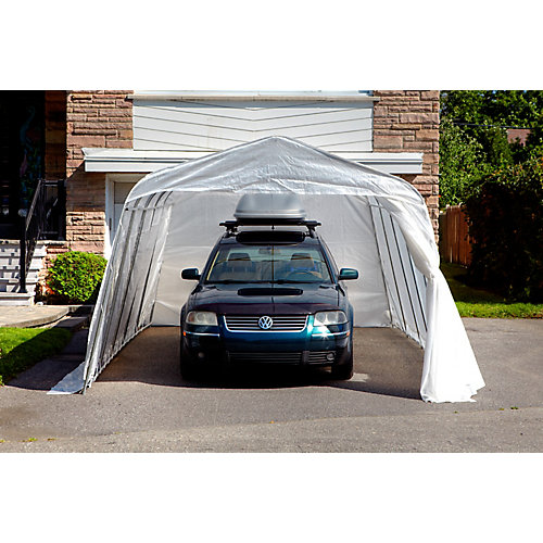 Standard Round 11 ft. x 16 ft. Car Shelter with Clear Roof