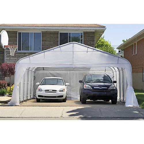 16 ft. x16 ft. Oval Car Shelter with White Roof