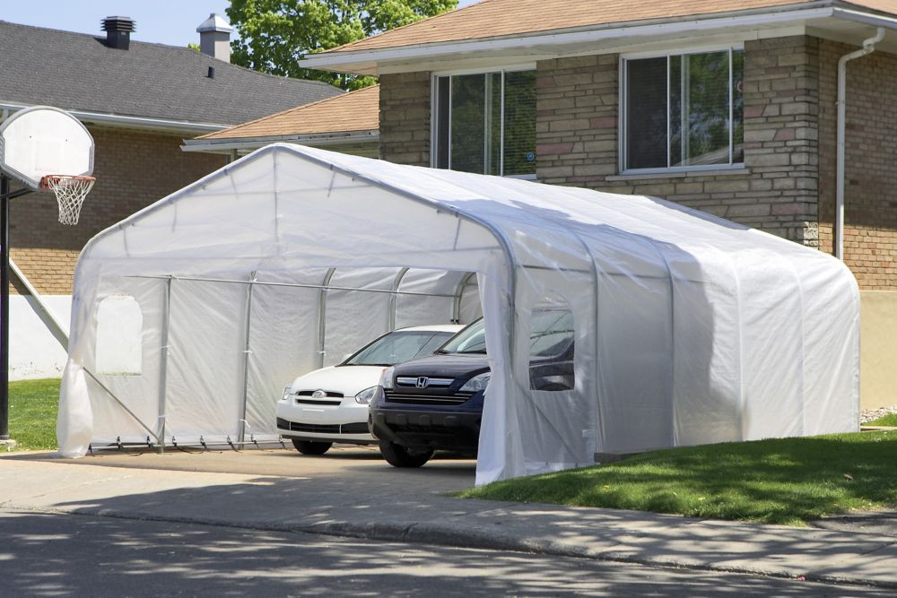 Car Shelter Oval 20 Feet x20 Feet White Roof CO20X20 WHI Canada Discount