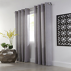HDC Basketweave Light Filtering Grommet Curtain 54 inches width X 95 inches length Smoked Pearl Grey