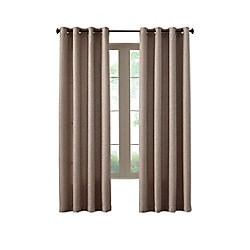 Home Decorators Collection Oatmeal Poly/Cotton Basket weave Curtain - 54-inch x 84-inch with Grommets in Oil-Rubbed Bronze