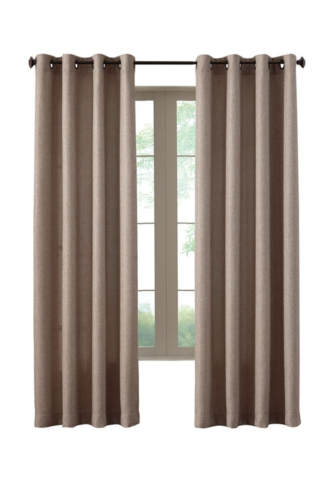 Oatmeal Poly/Cotton Basket weave Curtain - 54-inch x 84-inch with Grommets in Oil-Rubbed Bronze