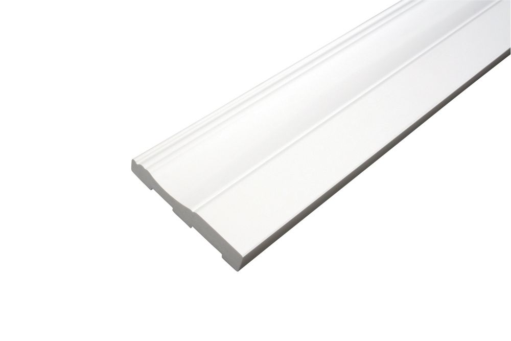Baseboard - Prefinished Ready to Install - Fauxwood White - 3-1/2 In. x 5/8 In. x 8 Ft.