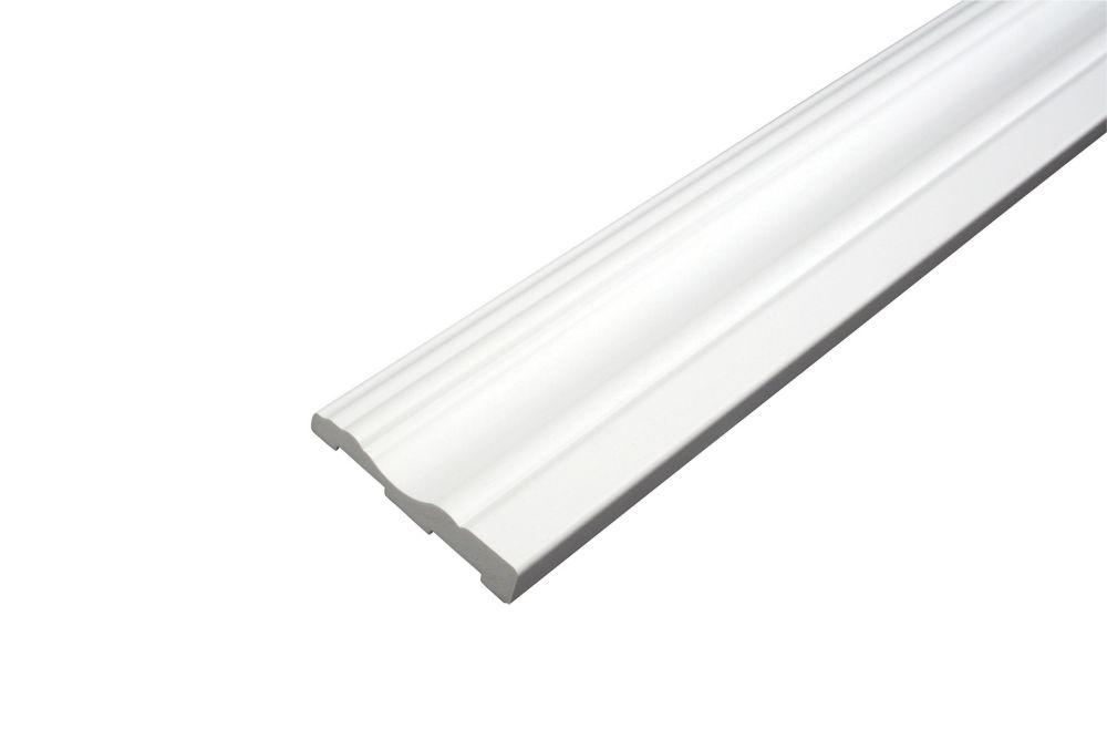 Cadrage - Prêt à installer - Fauxwood Blanc - 2-3/4 po. x 5/8 po. x 8 pi