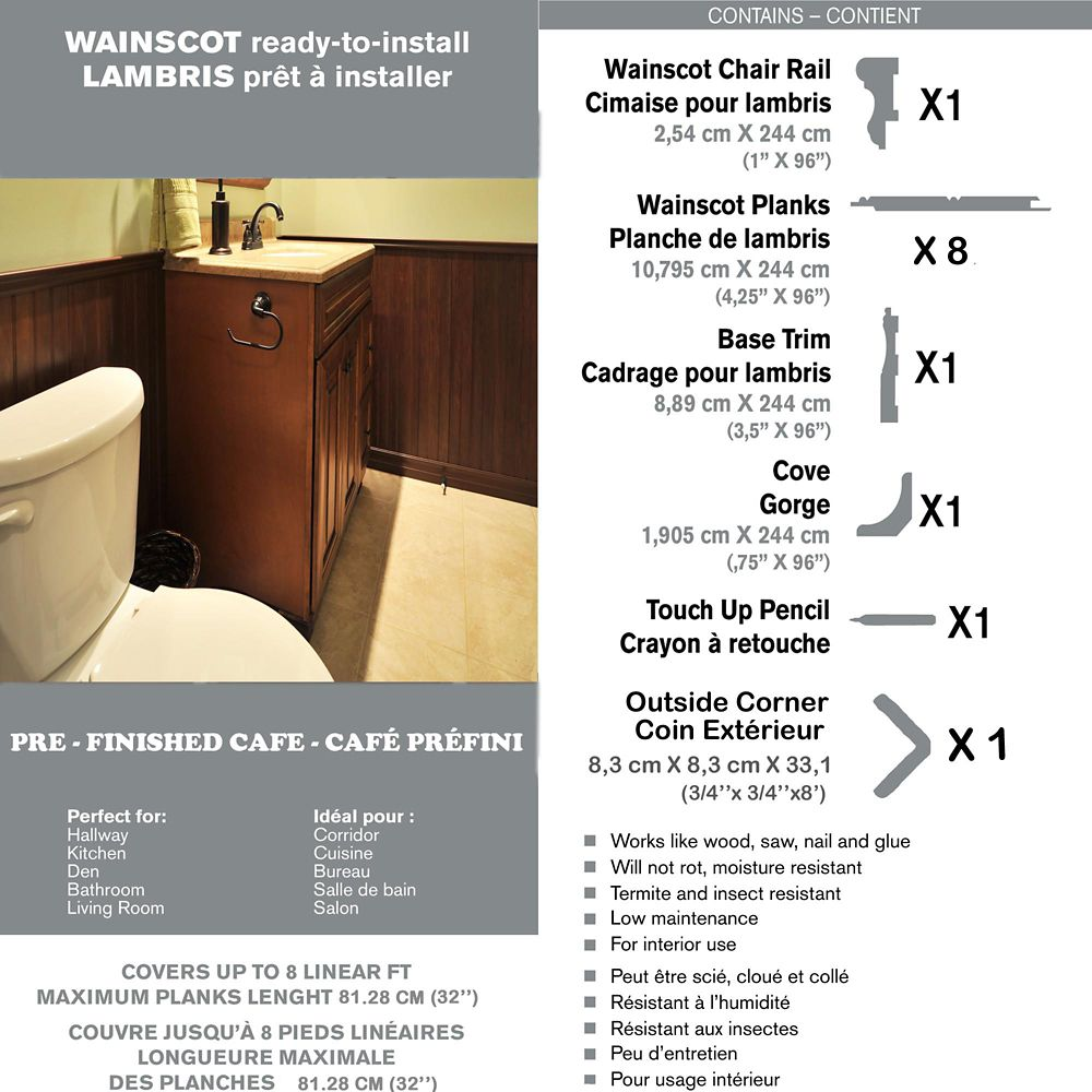 Wainscot Kit - Prefinished Ready to Install - Fauxwood Cafe - Up to 8 Linear Ft. x 36 In. High