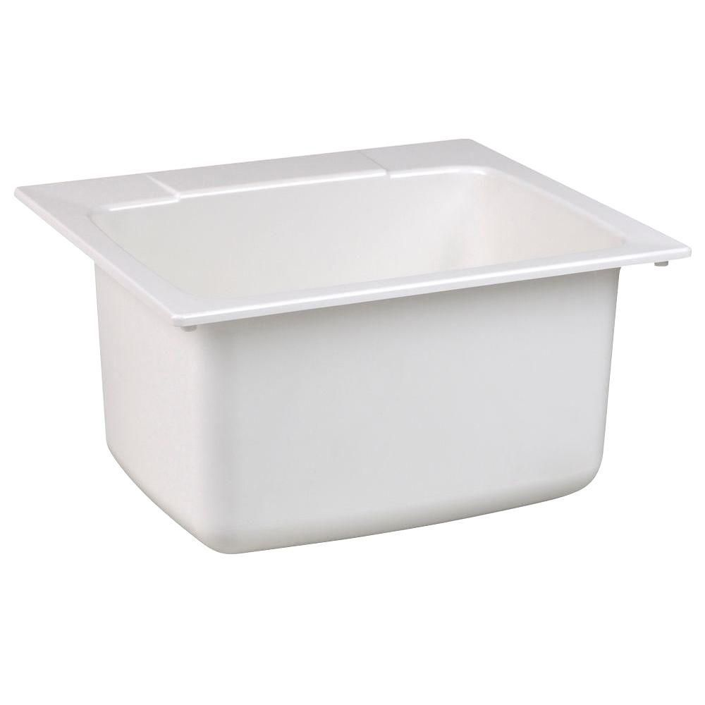 22 Inch X 25 Inch Moulded Fiberglass Self Rimming Utility Sink In White