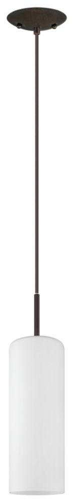 Troy 5 1-Light Oil Rubbed Bronze Pendant Light Fixture with Opal Frosted Glass