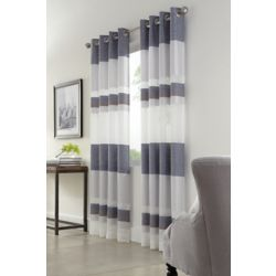 HDC Talia Sheer Grommet Curtain 52 inches width X 84 inches length, Blue