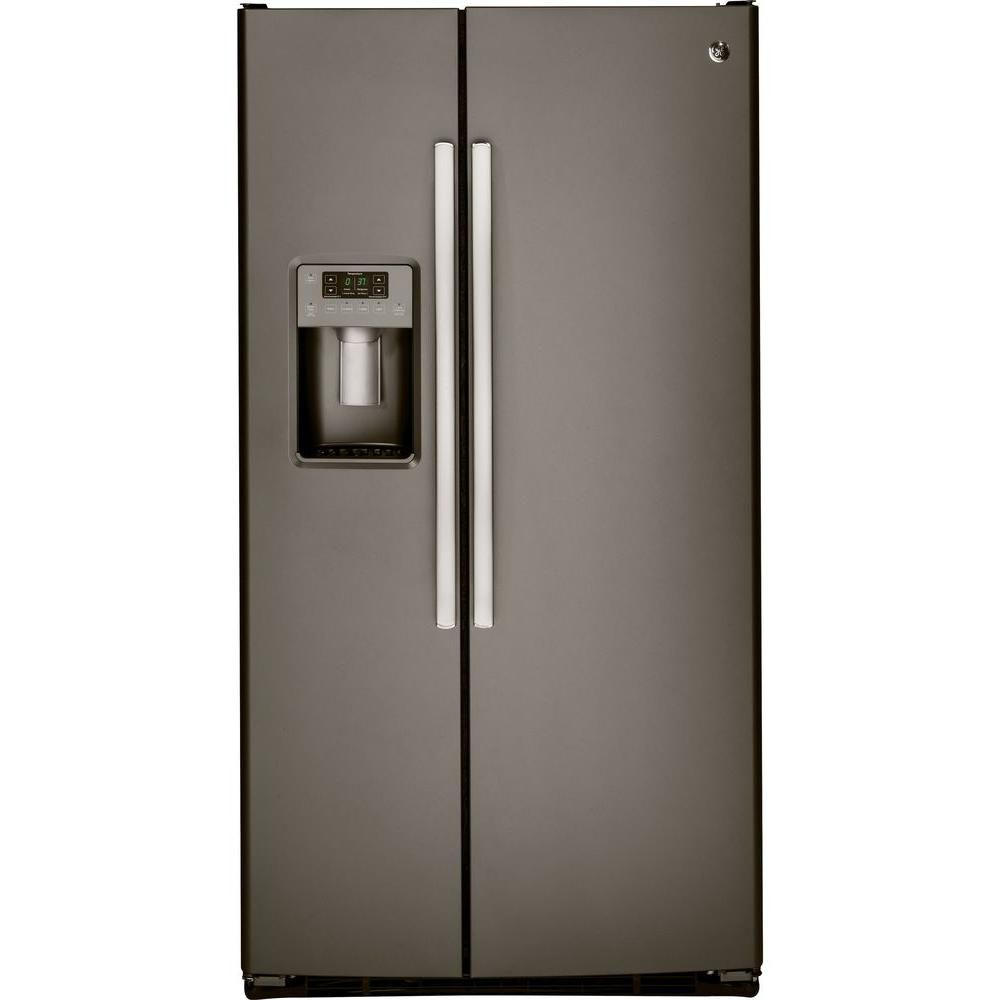 23.1 cu. ft. Side-by-Side Refrigerator with Dispenser LED Lights and Ice Maker in Slate