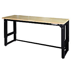 72 Inch. (6 Feet) x 24 Inch. D  Adjustable-Height Workbench With Solid Wood Top