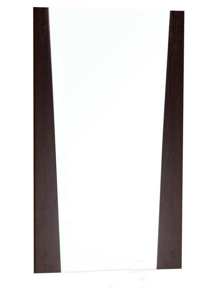 21 In. W x 34 In. H Modern Plywood-Melamine Wood Mirror In Wenge Finish