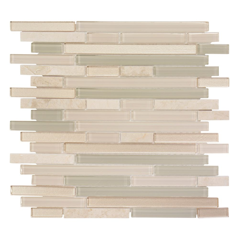 Jeffrey Court 11.875-Inch x 12.625-Inch x 6 mm Aged Paper Glass/Stone Mosaic Tile