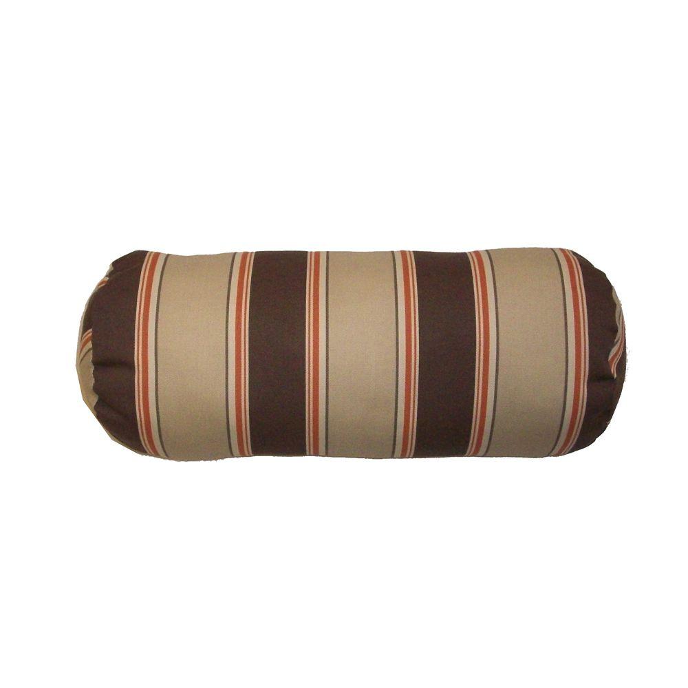 Outdoor Conversation Chair Bolster Cushion in Brown Stripe