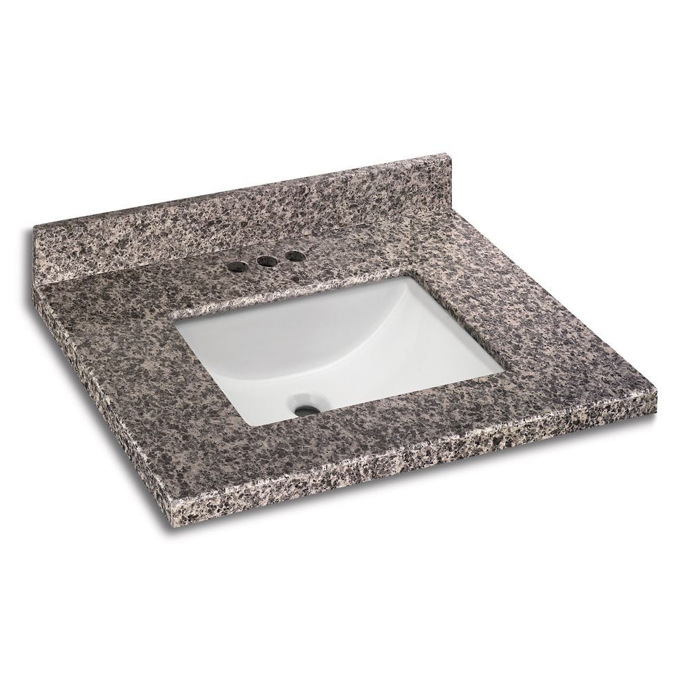 Sircolo 25-Inch W x 22-Inch D Granite Vanity Top with Trough Bowl