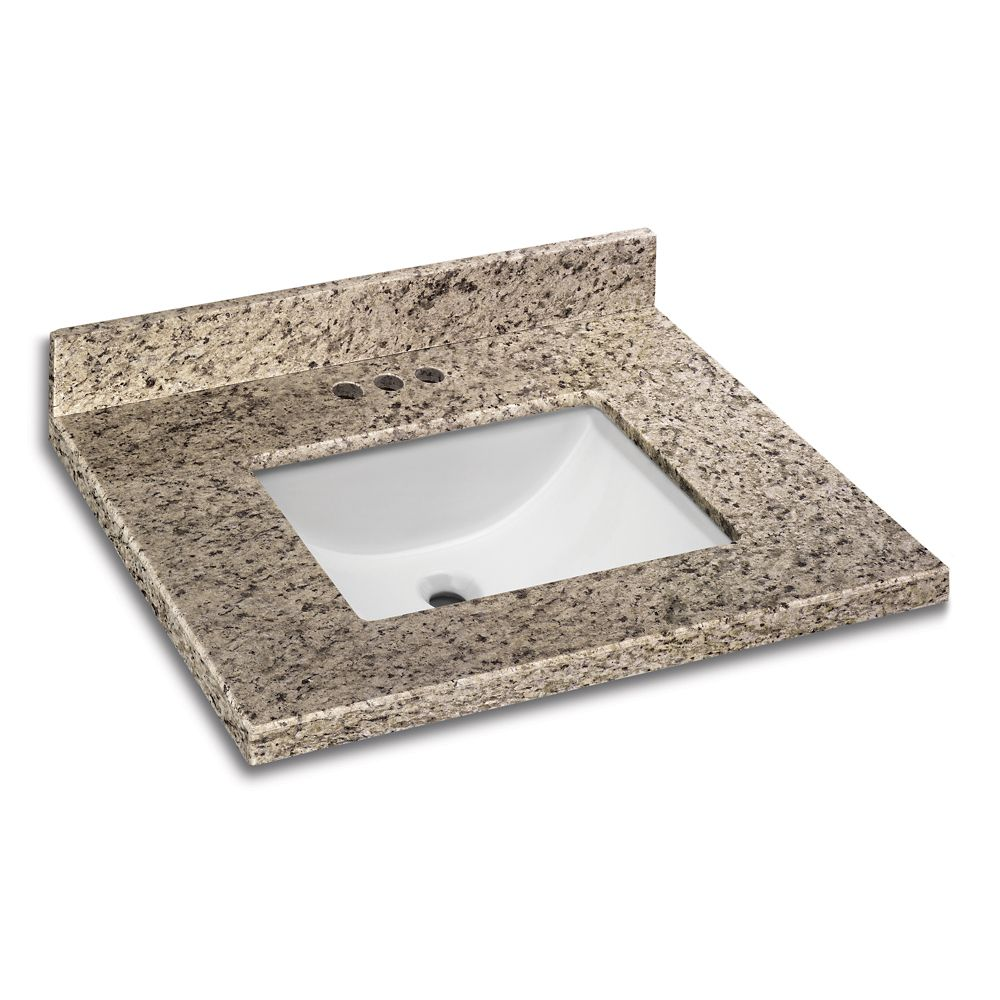 Giallo Ornamental 25-Inch W x 22-Inch D Granite Vanity Top with Trough Bowl