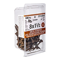 #8 x 1-1/2-inch Square Drive Flat Head Deck Screws UNC in Brown  UNC - 100pcs