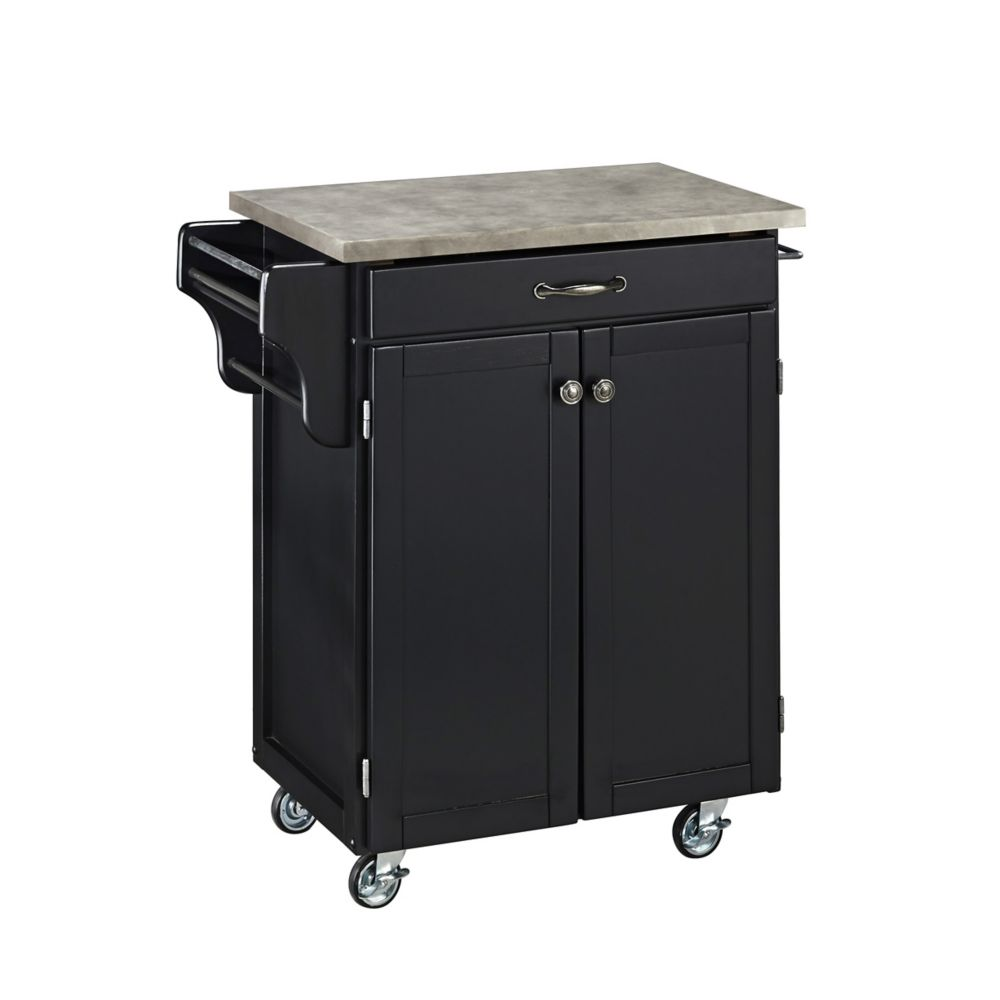 Black Cuisine Cart with Concrete Top