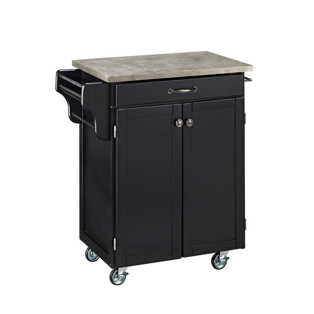 Black Cuisine Cart with Concrete Top