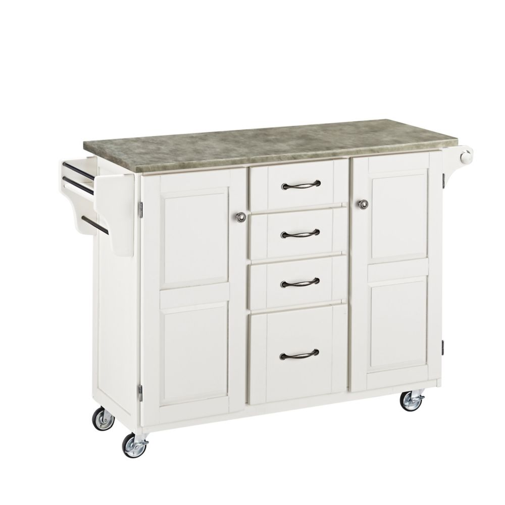 White Create-a-Cart with Concrete Top