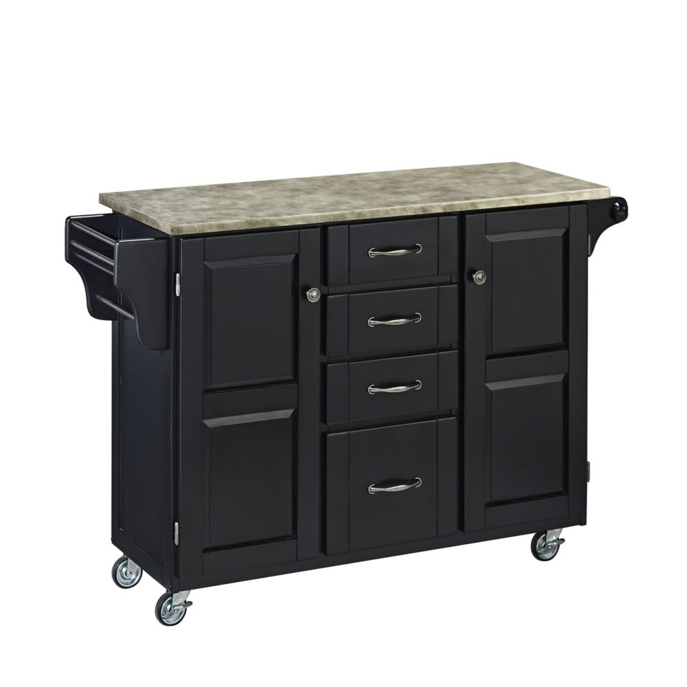Black Create-a-Cart with Concrete Top