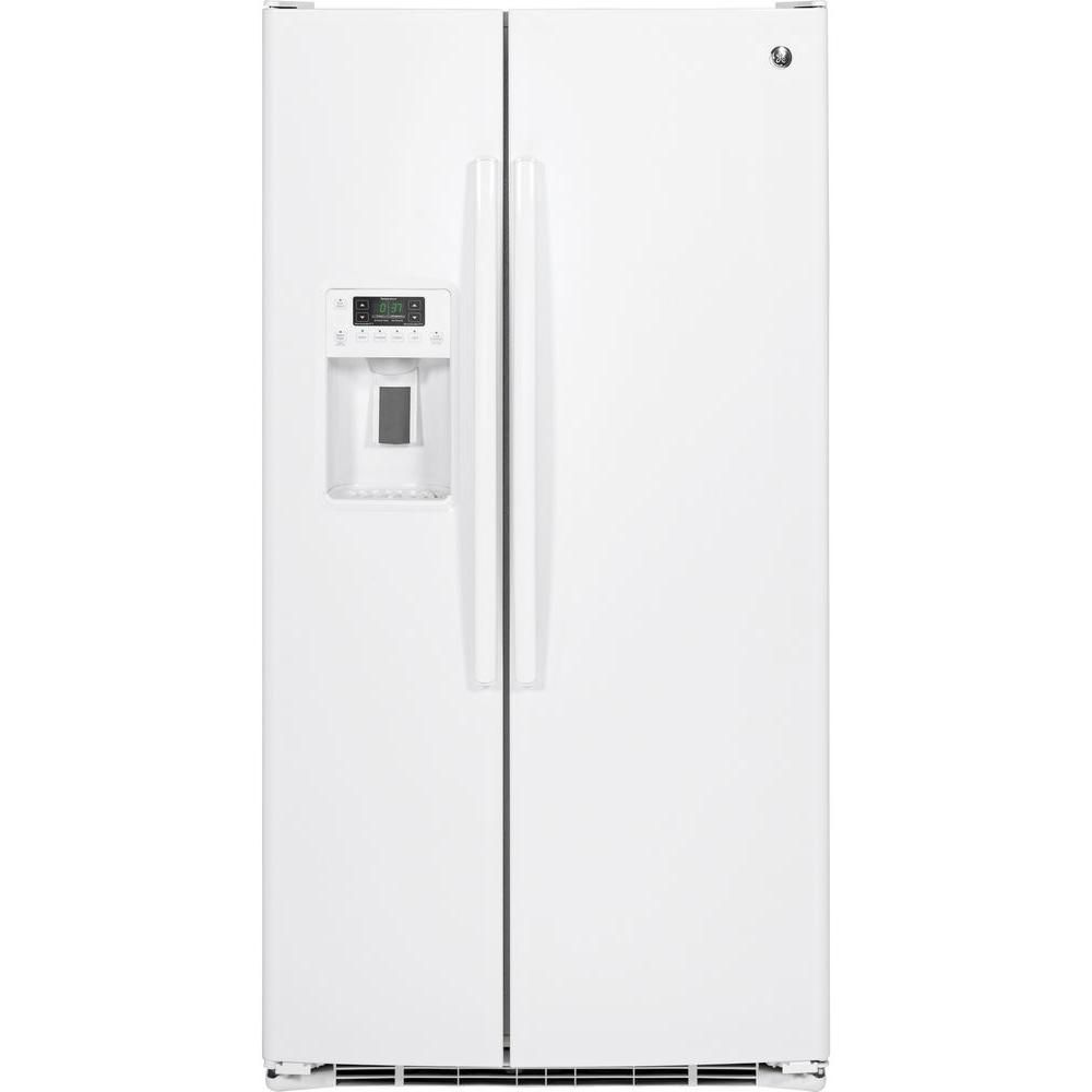 ge 21 9 cu ft side by side refrigerator with dispenser. Black Bedroom Furniture Sets. Home Design Ideas
