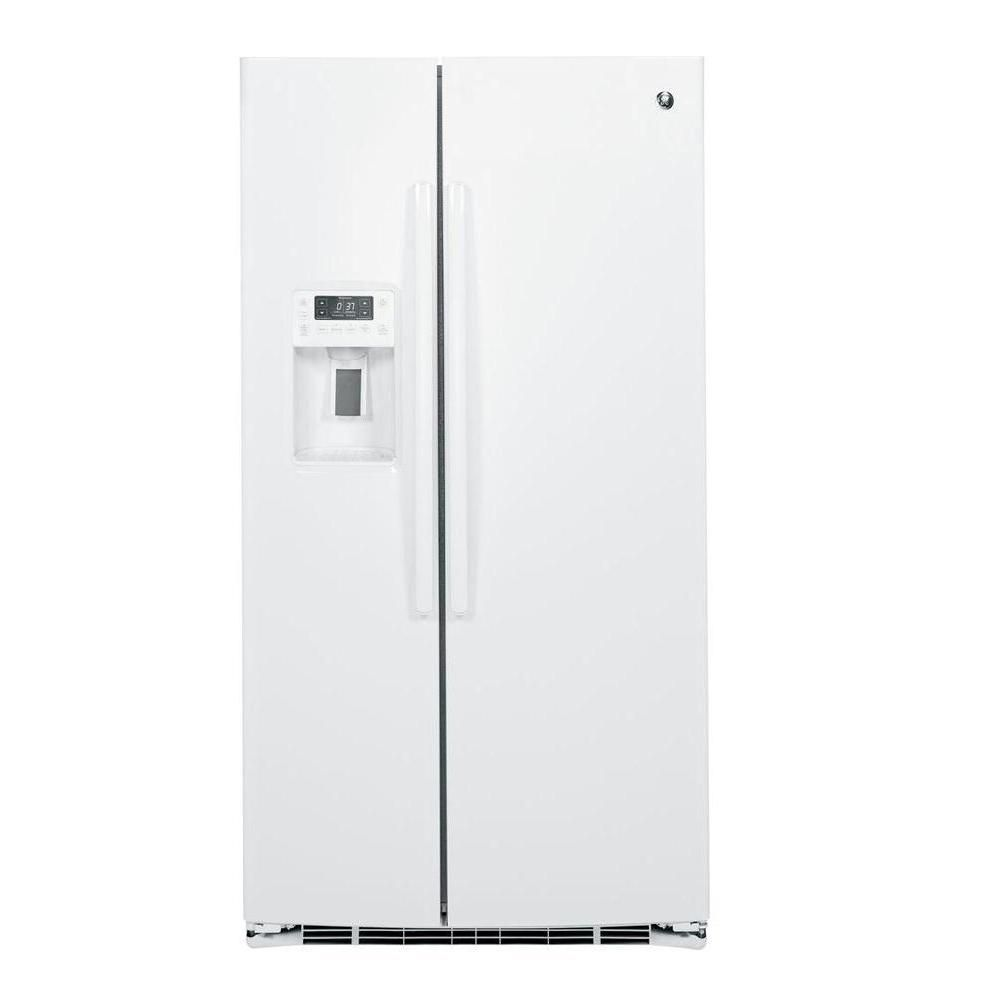 25.4 cu. ft. Side-by-Side Refrigerator with Dispenser LED Lights and Ice Maker in White