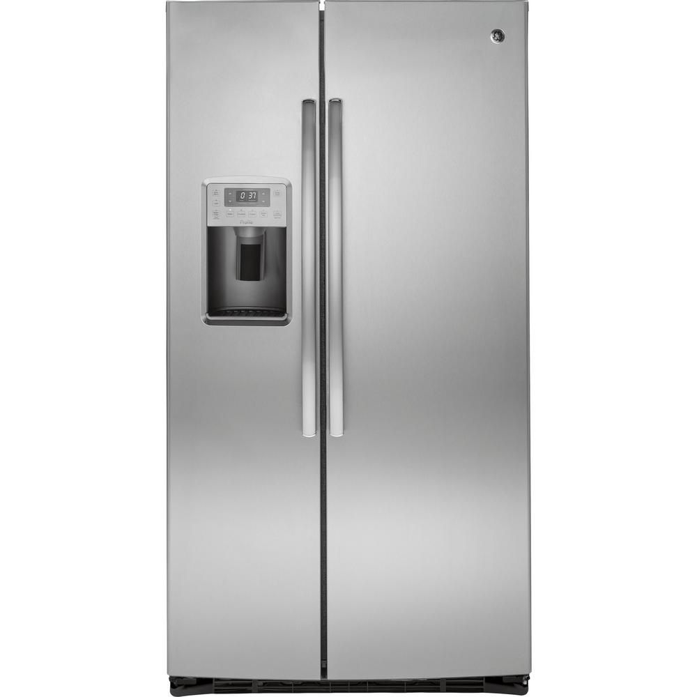 25.4 cu. ft. Side-by-Side Refrigerator with Dispenser LED Lights and Ice Maker in Stainless Steel