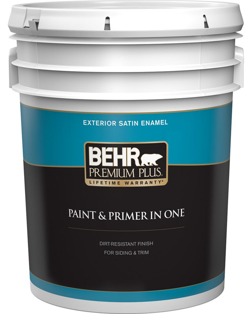 Behr Premium Plus Exterior Paint Satin Enamel Ultra Pure White 18 9 L The Home Depot Canada