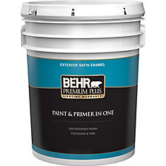 Exterior Paint & Primer in One, Satin Enamel - Ultra Pure White, 18.9 L