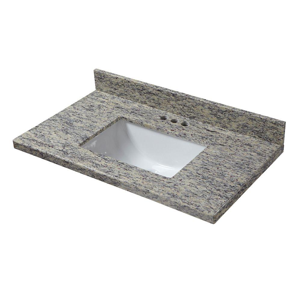 Santa Cecilia 37-Inch W x 19-Inch D Granite Vanity Top with Trough Bowl