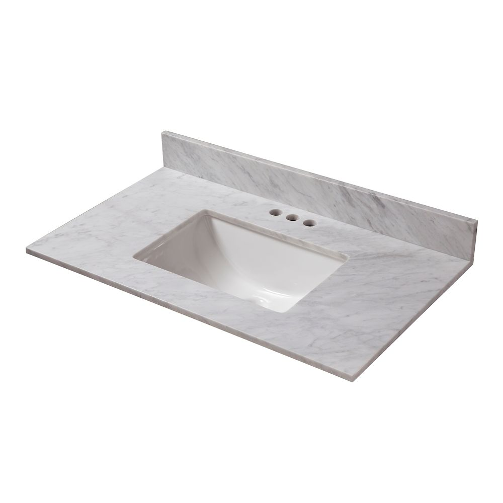 25-Inch W x 19-Inch D Carrara Marble Vanity Top with Trough Bowl
