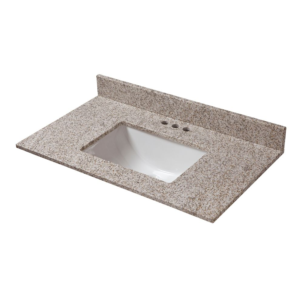 Golden Hill 25-Inch W x 22-Inch D Granite Vanity Top with Trough Bowl
