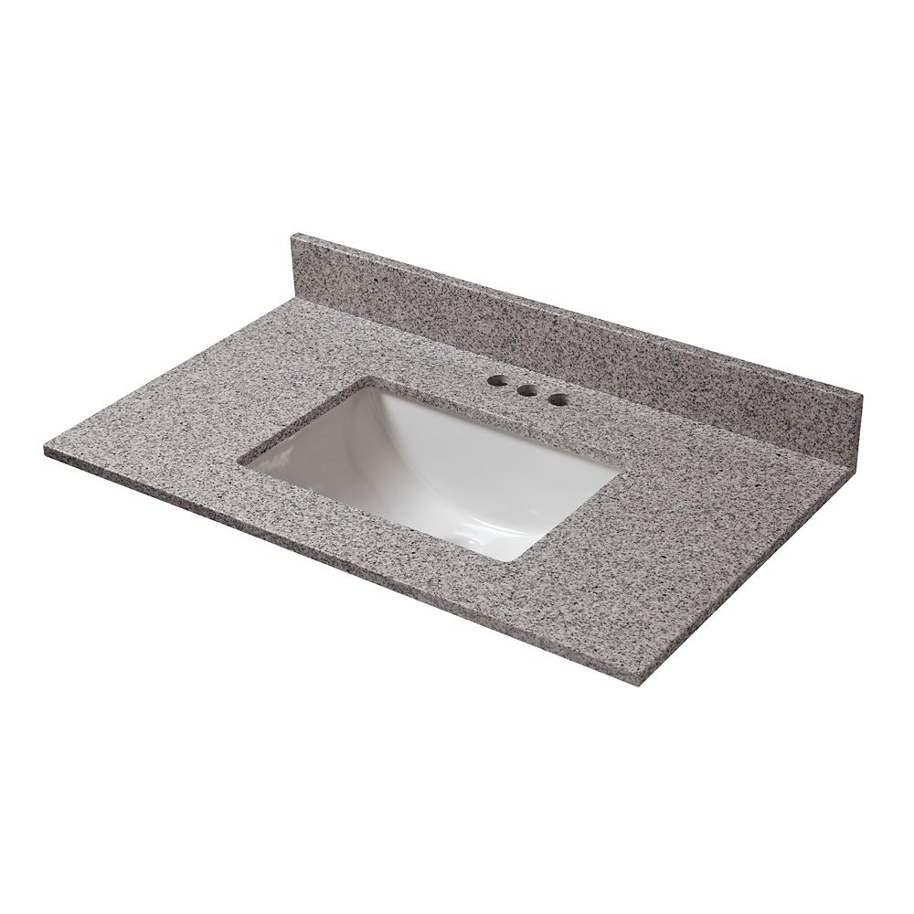 25-Inch W x 22-Inch D Napoli Granite Vanity Top with Trough Bowl