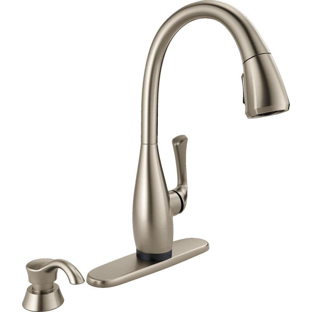 Dominic Single Handle Pull-Down Kitchen Faucet with Touch2O Technology in SpotShield, Stainless