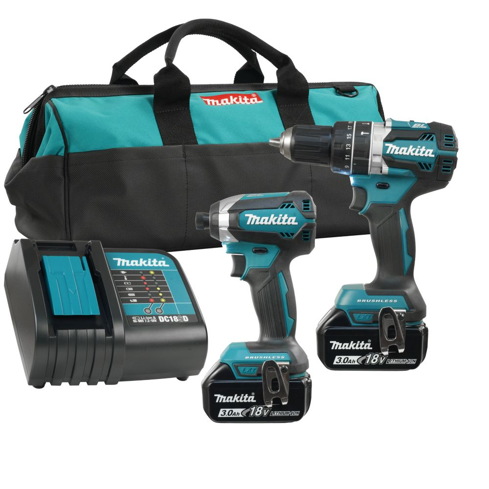 18V Brushless 3.0 Ah Lithium-Ion Hammer Driver Drill and Impact Driver Combo Kit