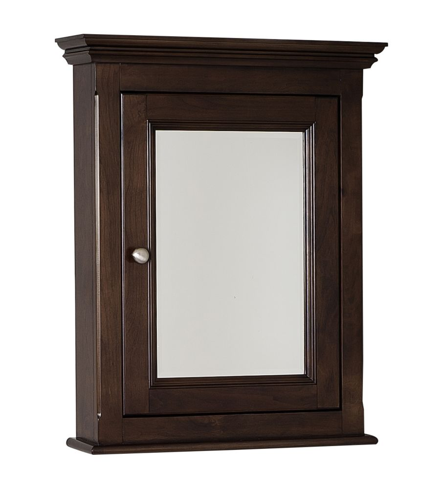 24 In. W x 30 In. H Traditional Birch Wood-Veneer Medicine Cabinet In Walnut Finish
