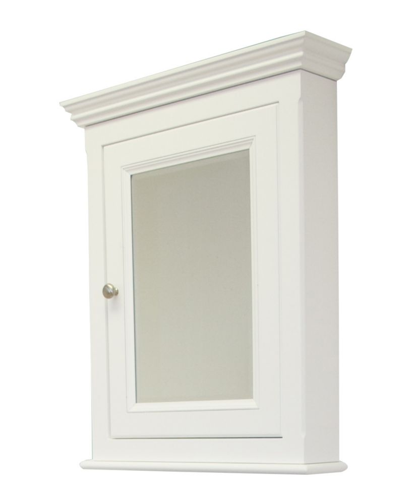 24 In. W x 30 In. H Traditional Birch Wood-Veneer Medicine Cabinet In White Finish