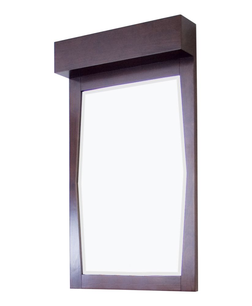 23 In. W x 36 In. H Transitional Birch Wood-Veneer Wood Mirror In Walnut Finish
