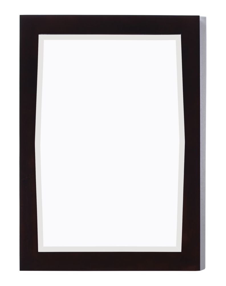 24 In. W x 34 In. H Transitional Birch Wood-Veneer Wood Mirror In Antique Walnut Finish